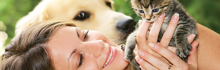 General Image - Dog with Woman and Kitten Left